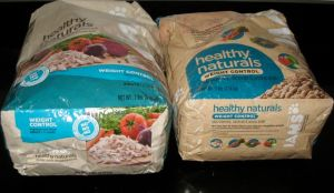 Two bags of weight control pet food